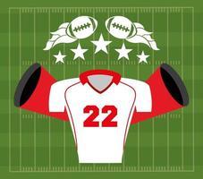 pôster esporte futebol americano com uniforme de camisa vetor