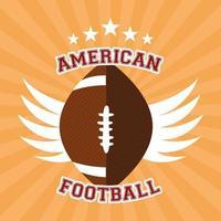banner de esporte de futebol americano com bola e asas