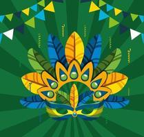 festa de carnaval brasileiro com chapéu de penas vetor