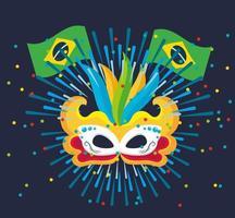 celebração do carnaval brasileiro com máscara de penas