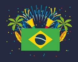 celebração do carnaval brasileiro com bandeira