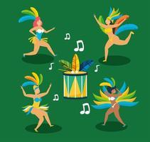 meninas brasileiras em fantasias de carnaval dançando vetor