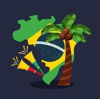 celebração do carnaval brasileiro com trombetas e mapa vetor