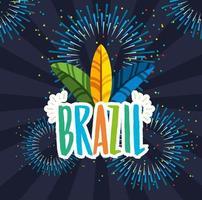 celebração do carnaval brasileiro com penas e letras vetor