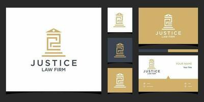 modelos de logotipo de lei de pc e vetor premium de design de cartão de visita