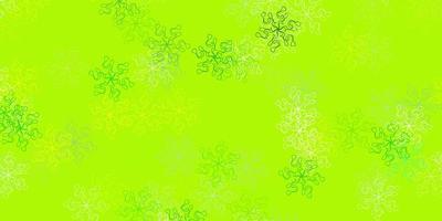 cenário natural de vetor verde e amarelo claro com flores.
