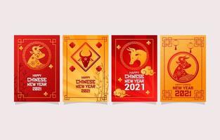 conjunto de cartões comemorativos do ano novo chinês vetor
