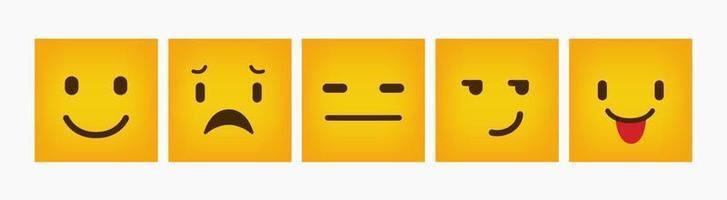 design de reação conjunto de emoticons planos quadrados vetor