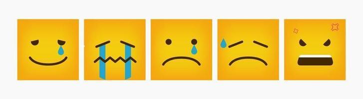 conjunto de emoticons quadrados de reação de design - vetor