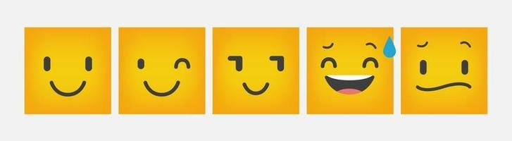 emoticon reação design quadrado plano conjunto - vetor