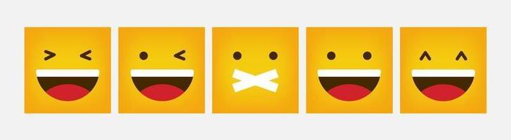 reação design emoticon quadrado conjunto plano - vetor