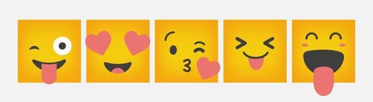 emoticon reação design quadrado conjunto plano - vetor