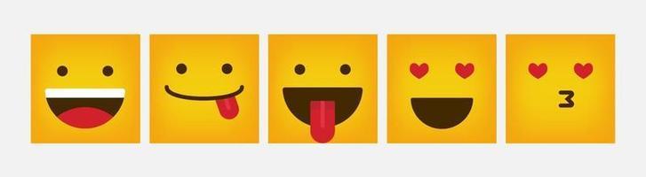 design quadrado de reação emoticon conjunto plano - vetor