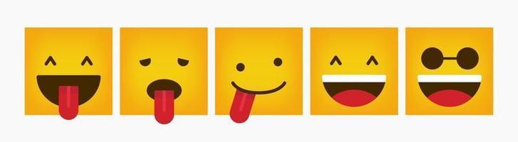 conjunto de emoticons de design quadrado de reação vetor