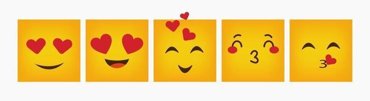 design emoticon reação quadrada definida plana vetor