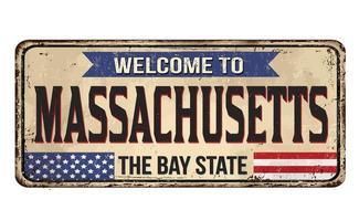 Bem-vindo ao letreiro vintage de metal enferrujado de Massachusetts vetor