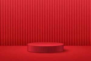 display redondo abstrato para o produto no site em design moderno. renderização de fundo com pódio e cena de parede de textura de cortina vermelha mínima, renderização em 3D de forma geométrica cor vermelha escura. conceito oriental.