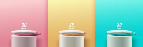 conjunto de display redondo abstrato para produto no site na modernidade. renderização de fundo pastel com pódio e cena de parede de textura mínima, renderização 3d de forma geométrica cor verde ouro rosa. eps10 do vetor
