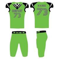ilustração de uniformes verdes de futebol americano com design personalizado vetor