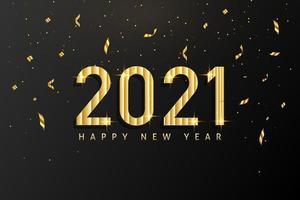 design de fundo realista feliz ano novo 2021 para cartões, cartaz, banner, ilustração vetorial. vetor