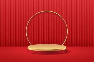 display redondo abstrato para o produto no site em design moderno. renderização de fundo com pódio e cena de parede de textura de cortina vermelha mínima, renderização em 3D de forma geométrica vermelha e cor de ouro. conceito oriental.