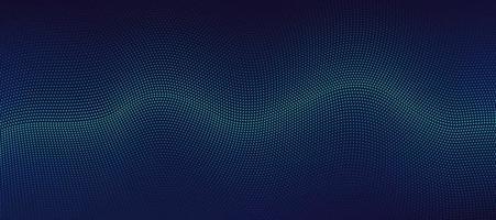 tecnologia abstrata partículas verdes e azuis design ondulado movimento 3d de som dinâmico em fundo azul escuro. conceito futurista moderno. ilustração vetorial vetor