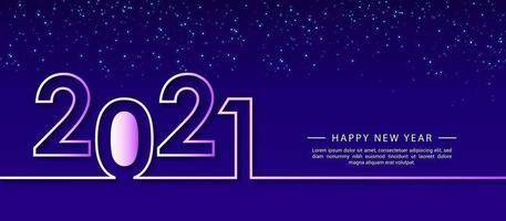modelo de design criativo 2021 feliz ano novo para cartões, cartaz, banner, ilustração vetorial. isolado sobre fundo azul. vetor