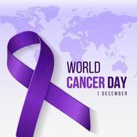 ilustração de fundo roxo do dia mundial do câncer com o símbolo da fita e texto no mapa do mundo. ilustração vetorial para o conceito do dia mundial do câncer de mama. vetor