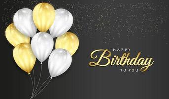 celebração de feliz aniversário em fundo preto com balões 3D realistas e confetes de glitter para cartão, banner de festa, aniversário vetor