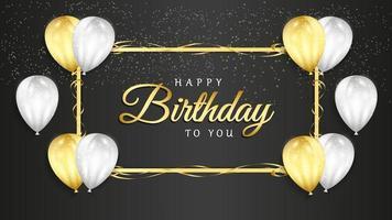 celebração de feliz aniversário em fundo preto com balões 3D realistas e confetes de brilho para cartão, banner de festa, aniversário. vetor