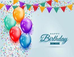 celebração de feliz aniversário com balões coloridos, confete de glitter e fundo de fitas para cartão, banner de festa, aniversário. vetor