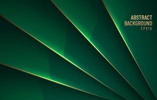 elegante fundo brilhante metálico verde escuro sobreposição de camada com sombra com linha de ouro estilo luxo. você pode usar para design de brochura de modelo. cartaz, banner web, folheto, ilustração vetorial etc. vetor