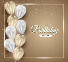 celebração de feliz aniversário em fundo dourado com balões 3D realistas e confetes de brilho para cartão, banner de festa, aniversário.
