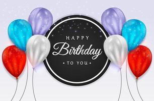 celebração de feliz aniversário com balões realistas e confetes de brilho para cartão de felicitações, banner de festa, aniversário. vetor