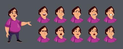 personagem de menino bonito com várias emoções faciais.