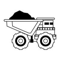 vista lateral isolada de maquinaria de veículo de mineração em preto e branco vetor