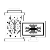 cartoon conceito de ícones de inteligência artificial em preto e branco
