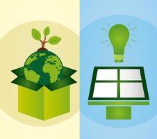 conjunto de pôster ecológico com planeta Terra e painel solar