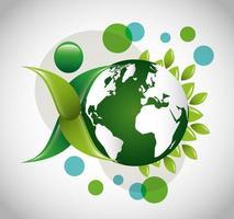 pôster ecológico com o planeta Terra e folhas