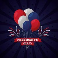 celebração do dia do presidente com letras e balões