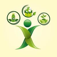 cartaz ecológico com figura humana e ícones