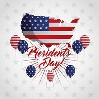 cartaz de comemoração do feliz dia dos presidentes com a bandeira dos EUA no mapa