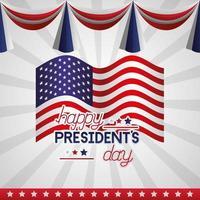cartaz de celebração do feliz dia do presidente com bandeira