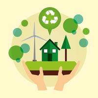 cartaz ecológico com casa e energia eólica