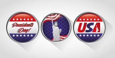 feliz dia dos presidentes conjunto de botões comemorativos dos EUA