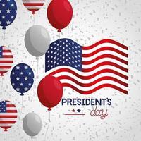 pôster de celebração do dia do presidente com bandeira e balões de hélio