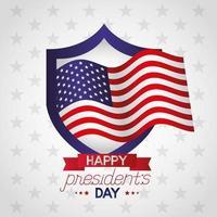 pôster de celebração do dia do presidente com bandeira