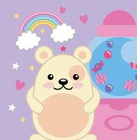 ursinho fofo com máquina de doces, personagem kawaii