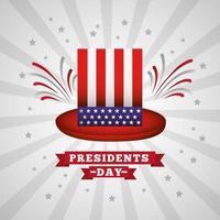 feliz cartaz de comemoração do dia do presidente dos EUA com cartola
