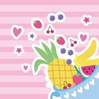 xícara com frutas estilo kawaii